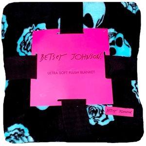 Queen Plush Blanket 90x90 ∙ Blue Rose Skull